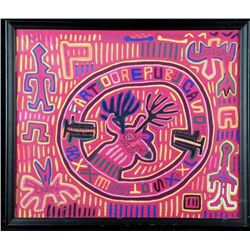 Cuna Indian Panama Hand-Made Fabric Tapestry Framed