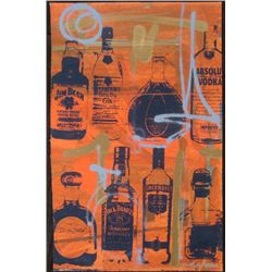 Bobby Hill Original Signed Painting Bottles Red II