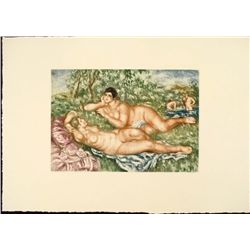 Renoir Colored Etching Art Print- Reposes Apres le Bain