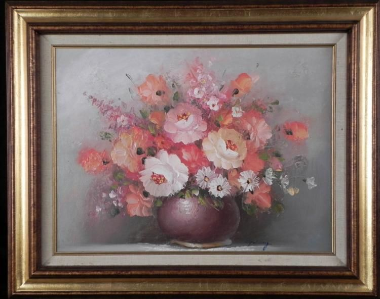 Goldberg original painting pink flowers in vase framed image 1 goldberg original painting pink flowers in vase framed mightylinksfo