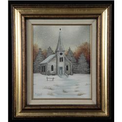 William McCarroll Original Painting Winter Church Framd