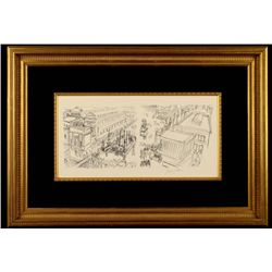 Jacques Villon Original Print La Place Paris Framed