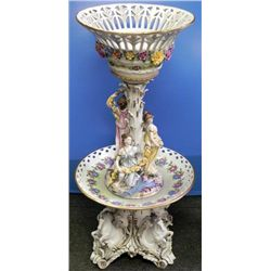 Dresden RK Large Antique Porcelain Compote Centerpiece