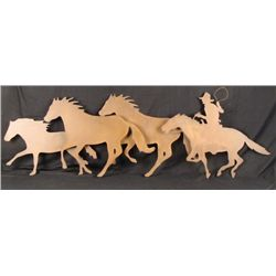 Large Cowboy & Horses Metal Wall Art Sculpture