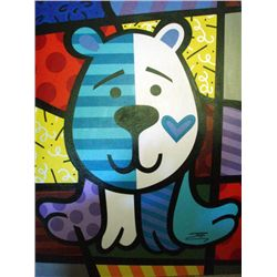 Jozza Original Large Painting On Canvas Blue Bear