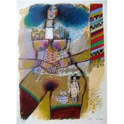 Signed & Numbered Tobiasse Lithograph with Mixed Media
