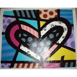 Jozza Original Painting Heart w/Black & Gray Polka Dots