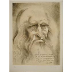 Christian Zeimert Signed Art Print Portrait of Da Vinci