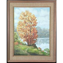 Russ Patrick Original Painting Autumn Tree -Framed 1983