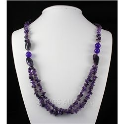 Chunky 384.69ctw Amethyst Beads Necklace