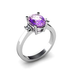 Amethyst 1.75 ctw Diamond Ring 14kt White Gold