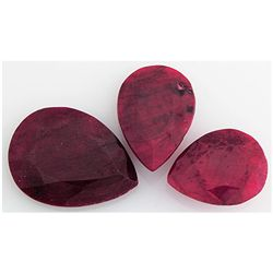 159.38ctw Ruby Pear Cut Loose Gemstone Lot of 3