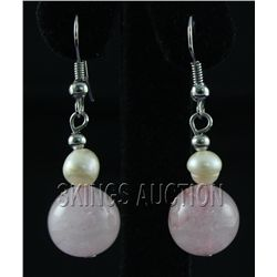 30.24CTW PETAL PINK FRESHWATER PEARL WITH CORAL EARRING