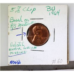 1964 Error! 1Cents Red 5% Clip Rare!