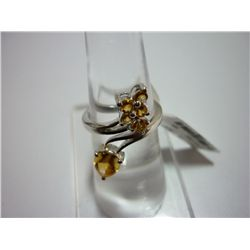 17.50 CTW CITRINE RING .925 STERLING SILVER