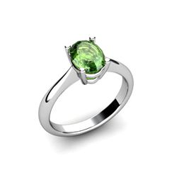 Genuine 1.18 ctw Green Tourmaline Ring 14k W/Y Gold
