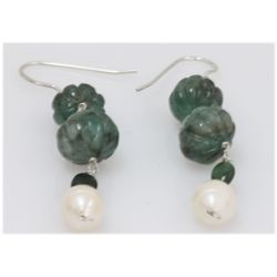 NATURAL 34.00 CTW PEARL SEMI-PRECIOUS EARRINGS .925 STE