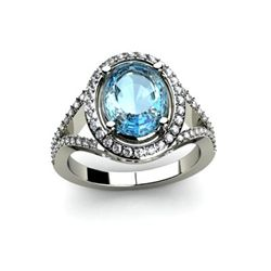 Topaz 4.08 ctw & Diamond Ring 14kt W/Y  Gold
