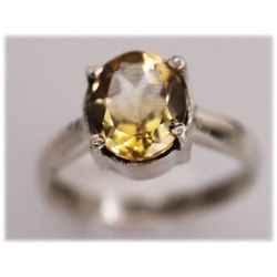NATURAL 16.00 CTW CITRINE OVAL RING .925 STERLING SILVE