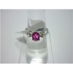 NATURAL 14.25 CTW RUBY RING .925 STERLING SILVER