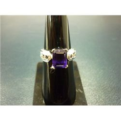 NATURAL 20.50 CTW  AMETHYST RING .925 STERLING SILVER