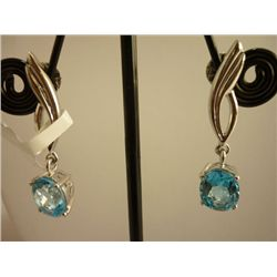 29.75 CTW BLUE TOPAZ EARRING .925 STERLING SILVER
