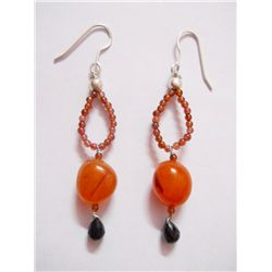 NATURAL 32.70 CTW BLACKONEX, SEMIPRECIOUS EARRING .925