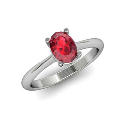 Genuine 0.60 ctw Ruby Ring 14k W/Y Gold
