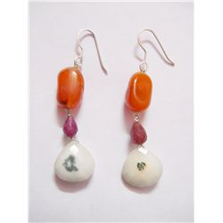 NATURAL 41.80 CTW SUSUNITE, RUBY, SEMIPRECIOUS EARRING