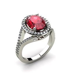 Ruby 3.73 ctw & Diamond Ring 14kt W/Y  Gold