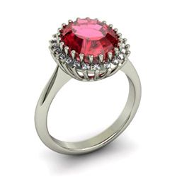 Garnet 5.22 ctw & Diamond Ring 14kt W/Y  Gold