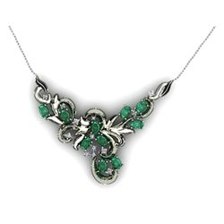 "Genuine 5.44 ctw Emerald Necklace 16.5"" 14k W/Y Gold"