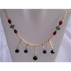 189ct Ruby Saphire Emerald Pearl .925 Sterling Necklace