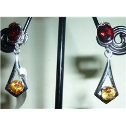 NATURAL 26.50 CTW GARNET AND CITRINE EARRING .925 STERL