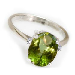 Natural 1.1 ctw Peridot 14k White Gold .05ct Diamond