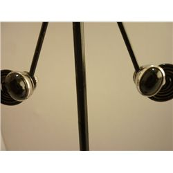 15.00 CTW BLACK STAR EARRING .925 STERLING SILVER