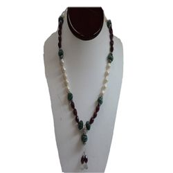 Natural 285.25ct Emerald,Ruby,Pearl Necklace .925 Sterl