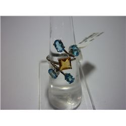 15.75 CTW CITRINE AND BLUE TOPAZ RING .925 STERLING SIL