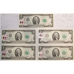 (5X$) Unc. 1976 $2 Bills. With First Day Issue Stamps, April 13, 1976.