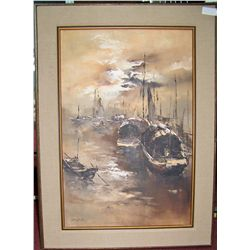 CHOW SUN (CHINESE) HONG KONG JUNK SHIPS VINTAGE OIL ON CANVAS PAINTING
