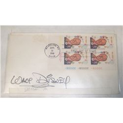 WALT DISNEY  POSTCARD W/ 1st Day Issue Disney Stamps, Sept 11, 1968. Complimentary Signature