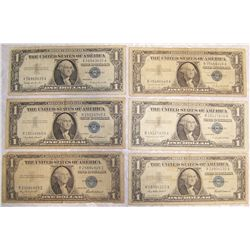 (6X$) $1 Silver Certificates.