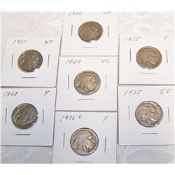 (7X$) Buffalo Nickels VG-XF.
