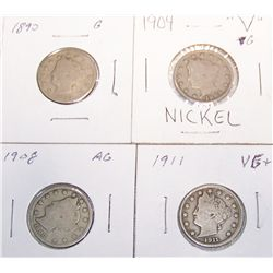 (4X$) Liberty Nickels G-VG+.