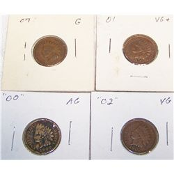 (4X$) Indian Head Cents. 1900, 1901, 1902, 1907.
