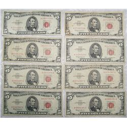 (8X$) U.S. $5 Notes. Choice 1963 Red Label.
