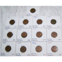 (13X$) British Farthings. Some Rare Dates.