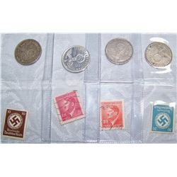 (4X$) WWII German Silver Marks w/ Swastikas and Stamps.