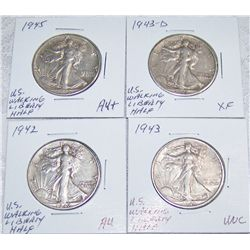 (4X$) Choice U.S. Walking Liberty Silver Halves.