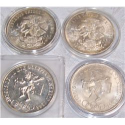 (4X$) 72% Silver Mexican Olympic Commemoratives. UNCS-1968.